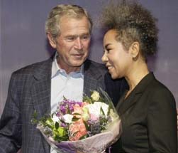 Insooni with former president George W Bush